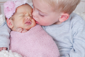 newborn photography Frederick MD studio with big brother