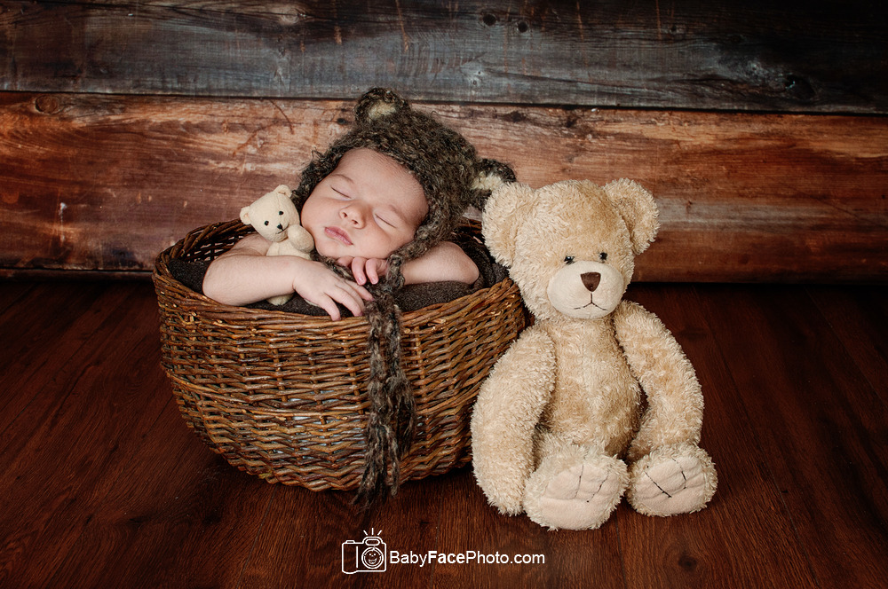 newborn baby photography basket with bear