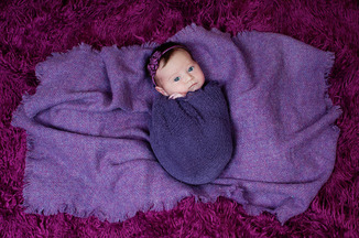 newborn baby girl purple wrap