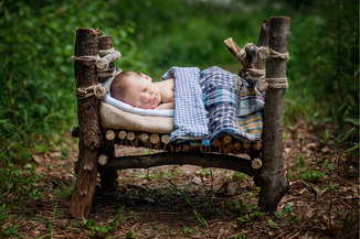 newborn outdoor photography twig bed outdoors