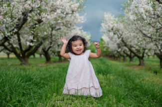 Spring location Two Year old girl Apple Blossoms