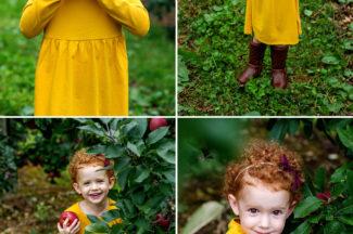 three year old girl in apple orchard