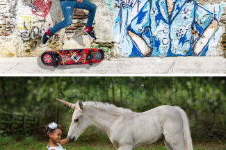 composite shots with unicorn and skateboard tricks
