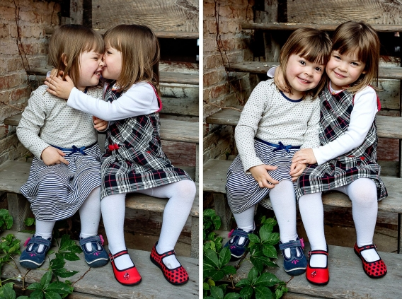 twin three year old girls on steps