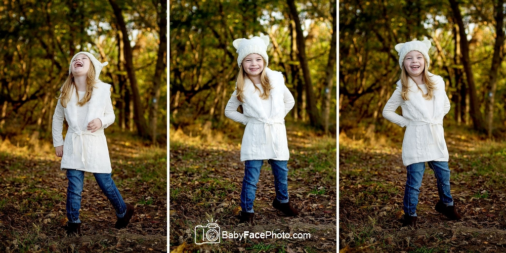 5 year old girl in the woods