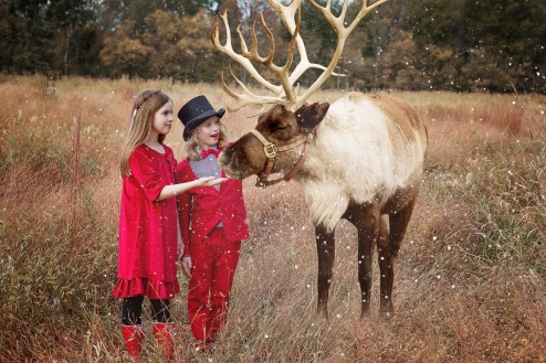 11 year old boy girl twins with reindeer