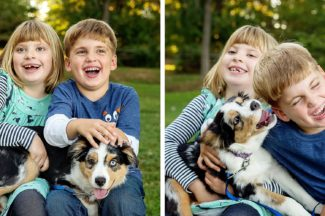 kids laughing with dog