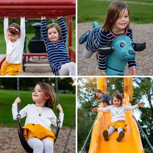 twin girls on playground collage