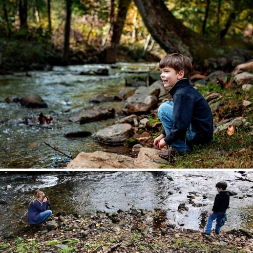 boy sitting by creek