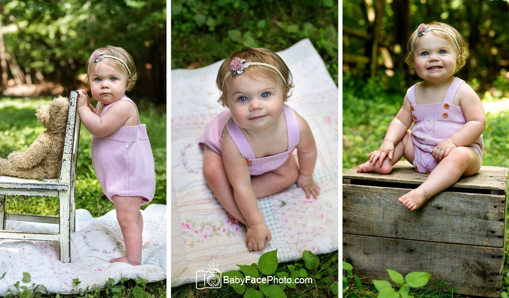 3 photos of one year old girl playing outside